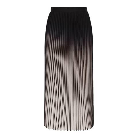 Reiss Neutral/Black Marlie Pleated Skirt