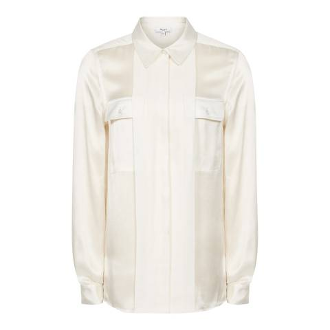 Reiss Off White Indra Silk Blouse