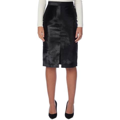 Reiss Black Adrianna Textured Leather Skirt