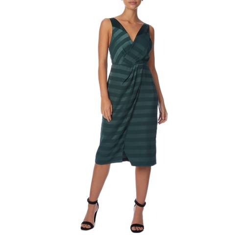 Reiss Dark Green Pia Stripe Dress