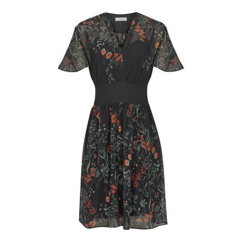 Reiss Black Sadie Floral Dress