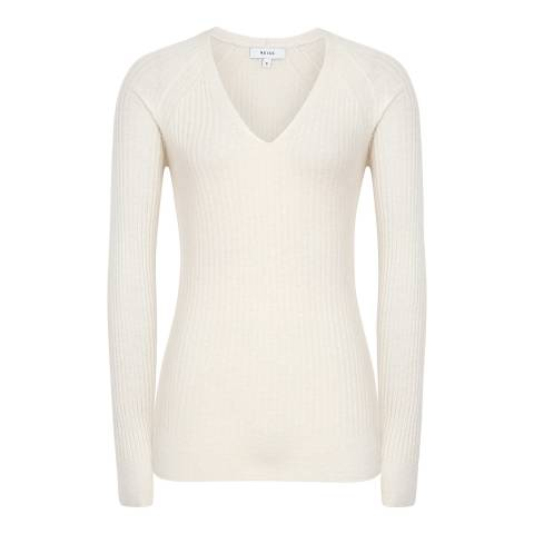 Reiss Off White Elouise Ribbed Jumper