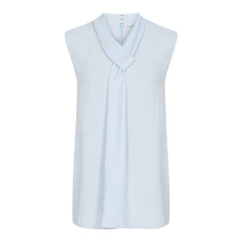 Reiss Blue Lula Tie Neck Top