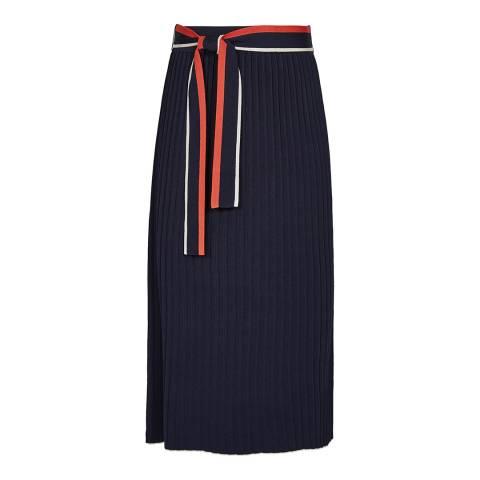 Reiss Navy Mia Knitted Midi Skirt
