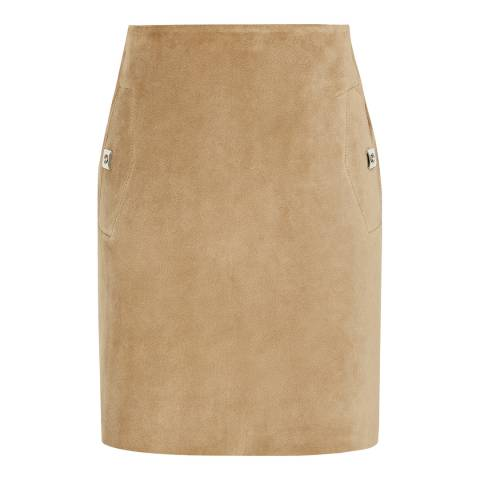 Reiss Sand Pippa Suede Mini Skirt