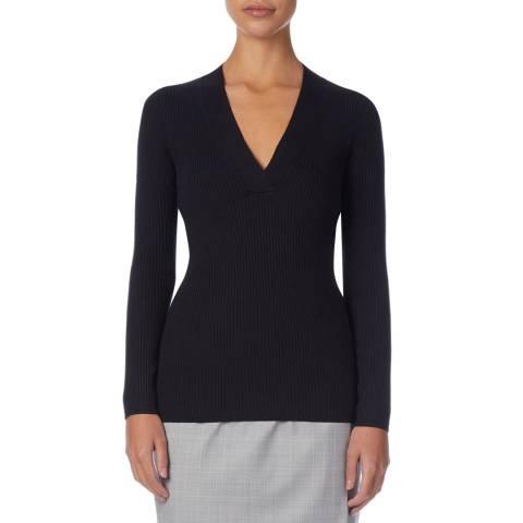 Reiss Navy Aggie Ribbed Knit Top