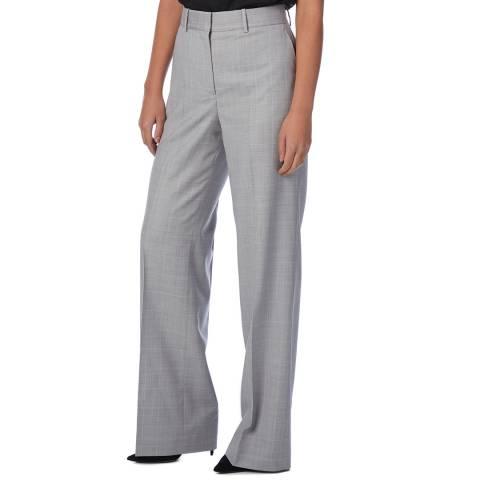 Reiss Grey/Pink Hailey Wide Wool Trousers