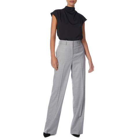 Reiss Grey/Pink Hailey Wide Wool Trousers