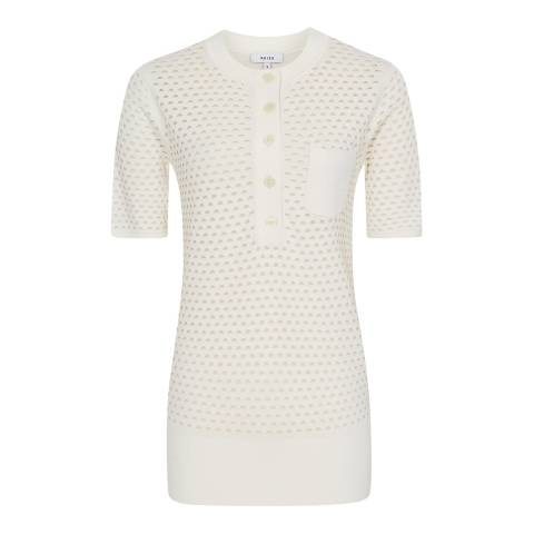 Reiss Neutral Coleen Pointelle Knit Polo Top