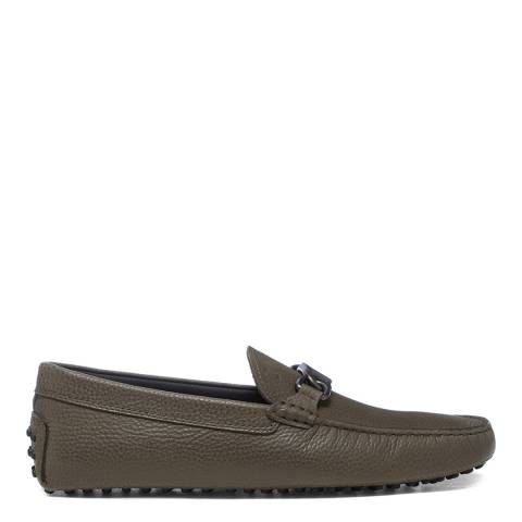 Tod's Olive Leather Gommini Driver Loafers