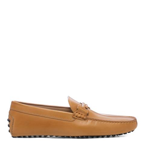 Tod's Beige Leather Gommini Driver Loafers