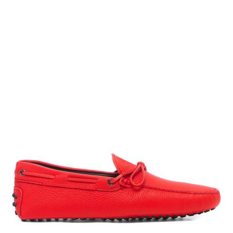 Tod's Red Leather Gommini Driver Loafers