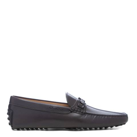 Tod's Grey Leather Gommini Driver Loafers
