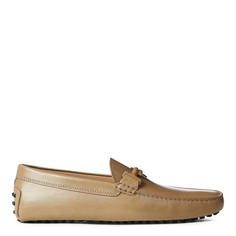 Tod's Beige Leather Classic Gommini Loafers