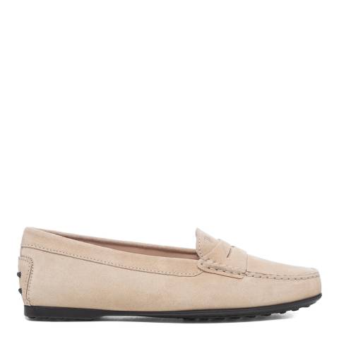Tod's Natural Beige Suede Driving Loafers