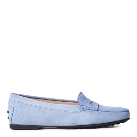 Tod's Light Blue Suede Gommino Driver Loafers