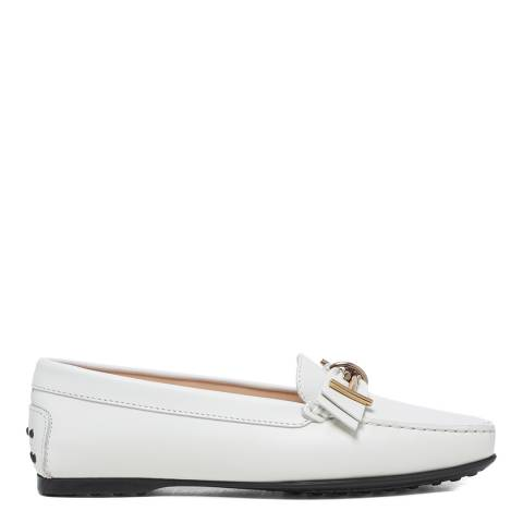 Tod's White Leather Mosto Loafers