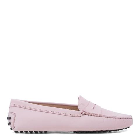 Tod's Pink Leather Gomino Driving Loafers