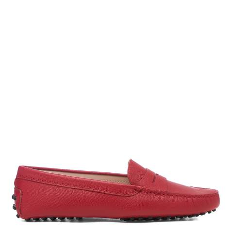Tod's Red Leather Gomino Driving Loafers