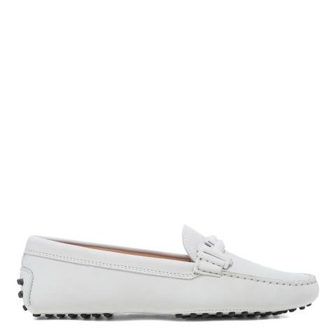 Tod's White Leather Doppia Driving Loafers