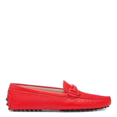 Tod's Red Rosso Doppia Driving Loafers