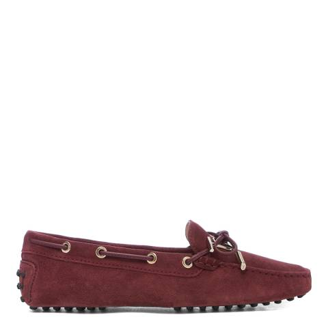 Tod's Dark Red Suede Gomino Driving Loafers