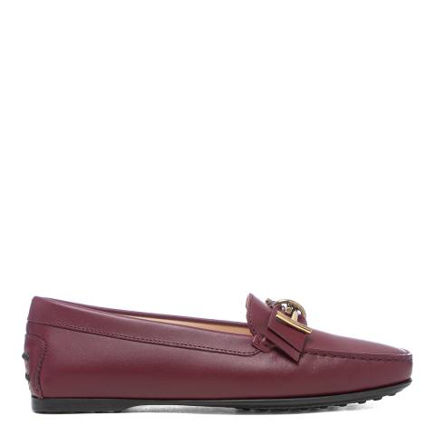 Tod's Dark Red Leather Mosto Loafers
