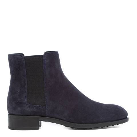 Tod's Blue Suede Tronchetto Ankle Boots