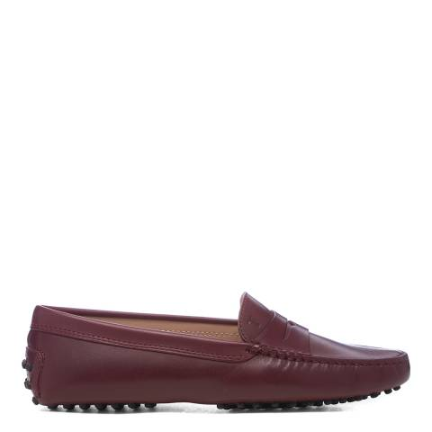 Tod's Burgundy Leather Gommini Driving Loafer
