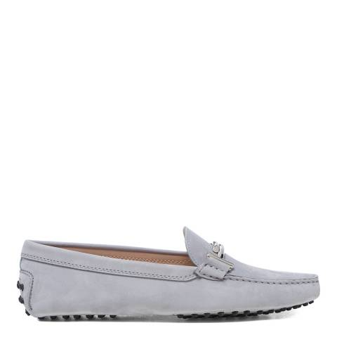Tod's Grey Grigio Sleet Gommini Driver Loafers