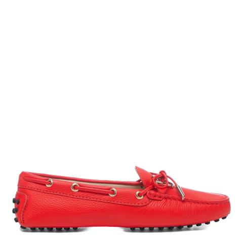 Tod's Red Rosso Leather Gomino Driving Loafers