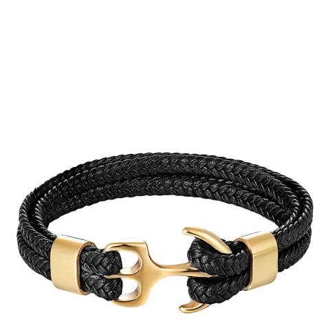Stephen Oliver 18K Gold Plated Multi Row Black Leather Anchor Bracelet