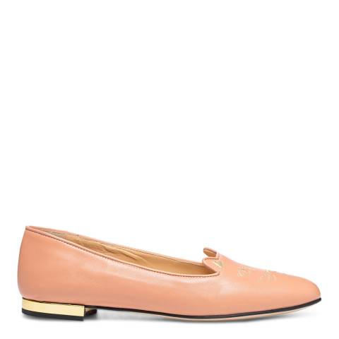 Charlotte Olympia Pale Pink Leather Kitty Flat Pumps