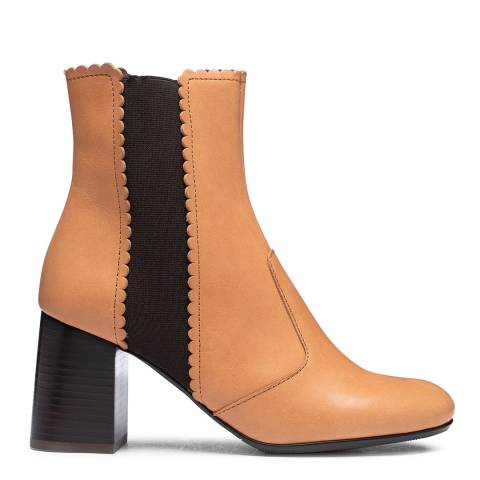See by Chloe Brown Leather Scallop Heel Bootie