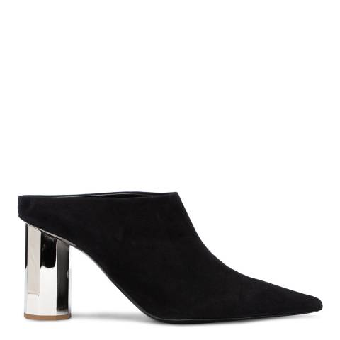 Proenza Schouler Black Leather Pointed Block Heel Mules