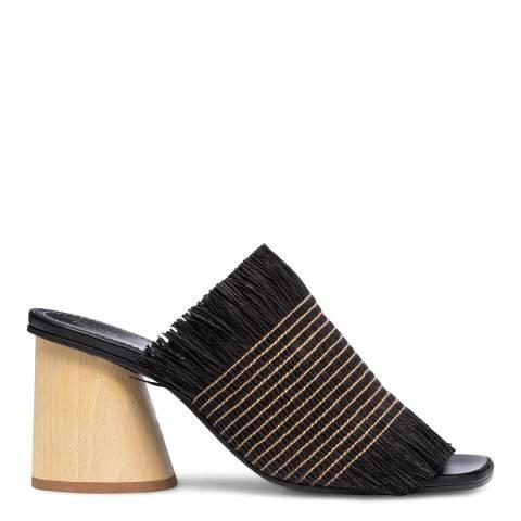 Proenza Schouler Black/White Fringe Wood Heel Sandals