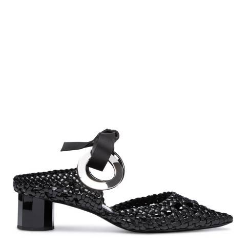 Proenza Schouler Black Leather Grommet Heel Mules