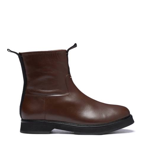 Joseph Brown/Black Tabs Leather Ankle Boots