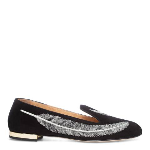 Charlotte Olympia Black Suede Sandra Feather Loafers