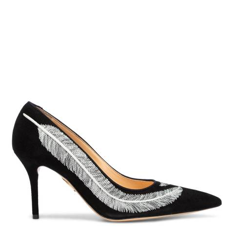 Charlotte Olympia Black Suede Emilia Feather Court Pump