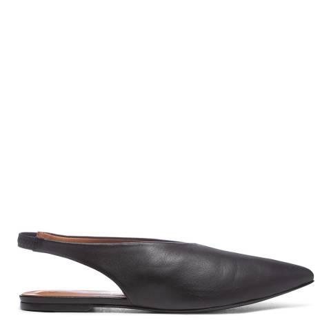 Joseph Black Leather Flat Mules