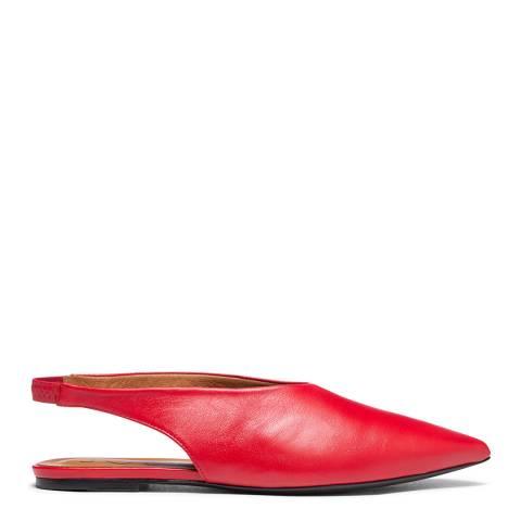 Joseph Red Leather Flat Mules