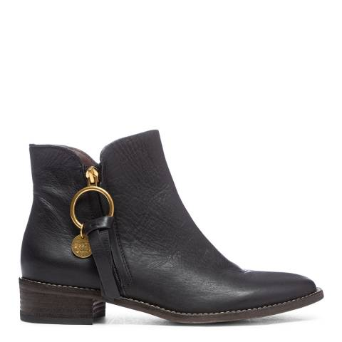 See by Chloe Black Leather Zip Up Ankle Boot