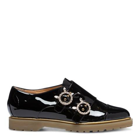 Charlotte Olympia Black Patent Embellished Brogue Shoe