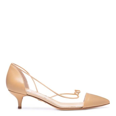 Charlotte Olympia Beige Leather Transparent Court Shoes