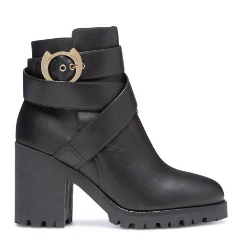 Charlotte Olympia Black Leather Chunky Heel Ankle Boot