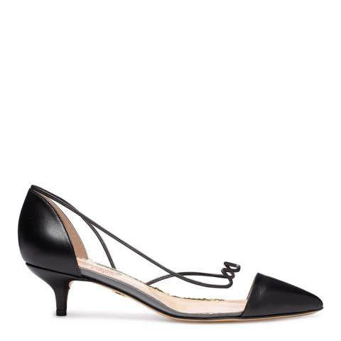Charlotte Olympia Black Leather Transparent Court Shoes