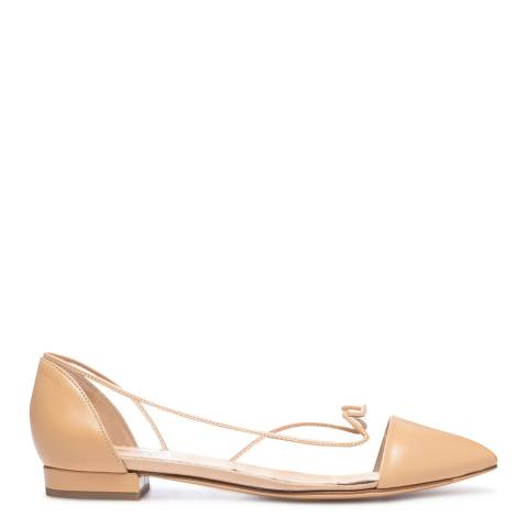 Charlotte Olympia Beige Leather Transparent Ballet Flats