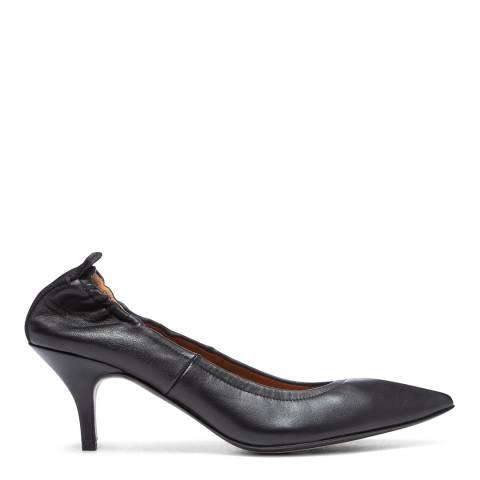 Joseph Black Leather Pointed Pumps