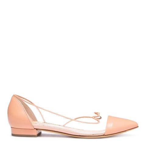 Charlotte Olympia Pale Pink Leather Transparent Ballet Flats